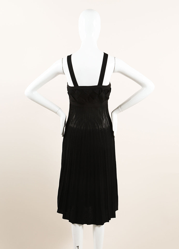 Chanel Black Woven Pleated Spaghetti Strap Dress Backview