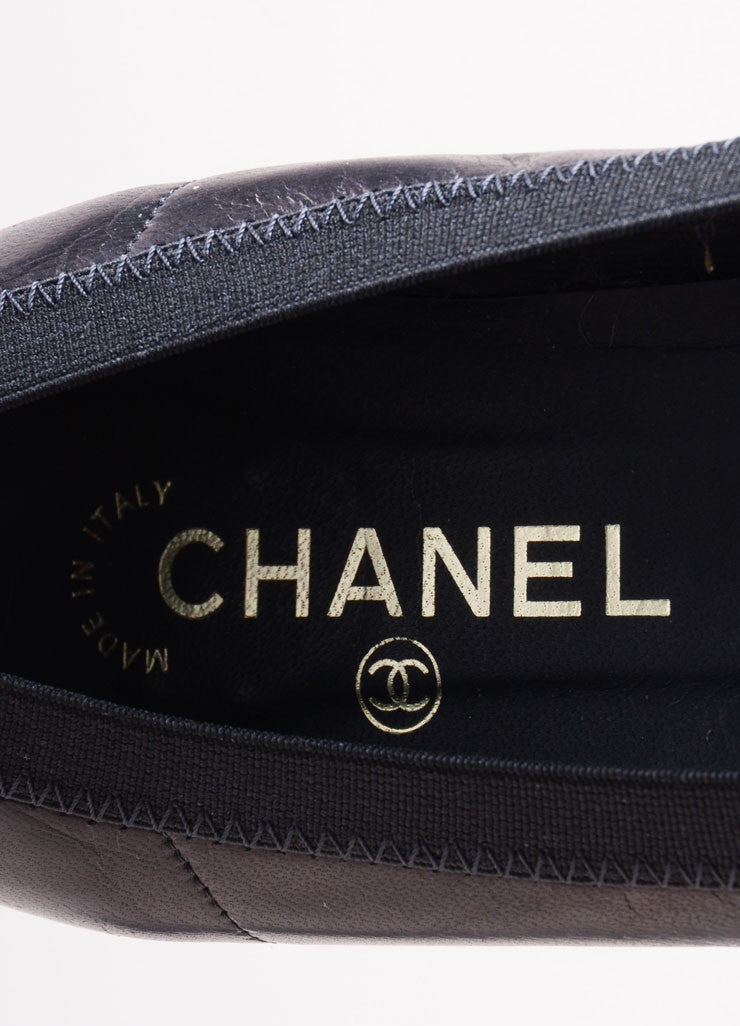 "Chanel Black Leather Patent Toe ""CC"" Flats Brand"