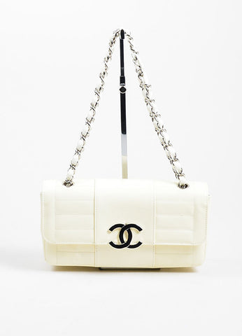 Cream and Silver Toned Quilted Patent Leather 'CC' Flap Chain Strap Bag Frontview