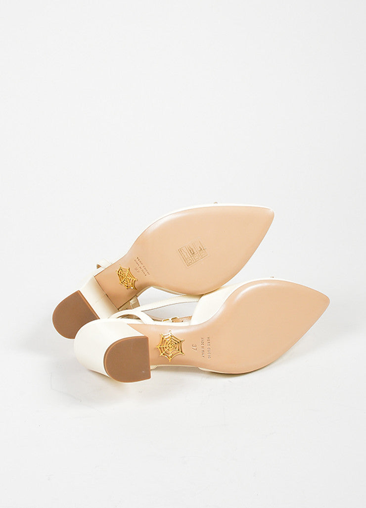 "Charlotte Olympia Off White Leather ""Eileen"" Ankle Wrap Pumps Outsoles"
