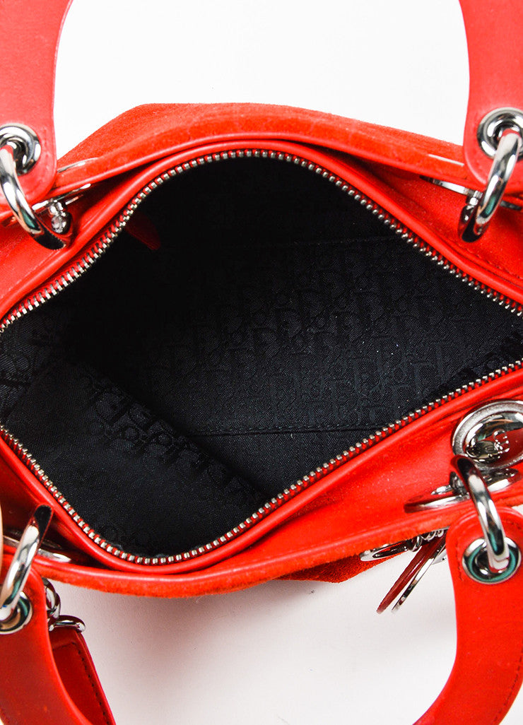 "Red Christian Dior Suede Quilted Medium ""Lady Dior Cannage"" Bag Detail 4"