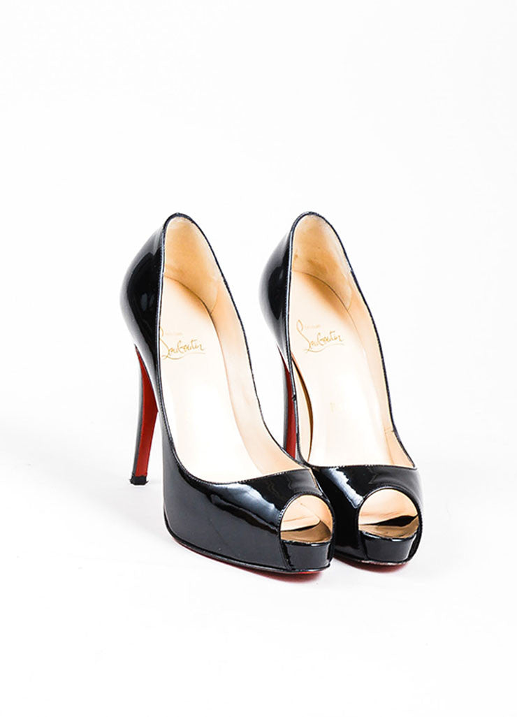 Black Christian Louboutin Patent Leather Peep Toe Pumps Front