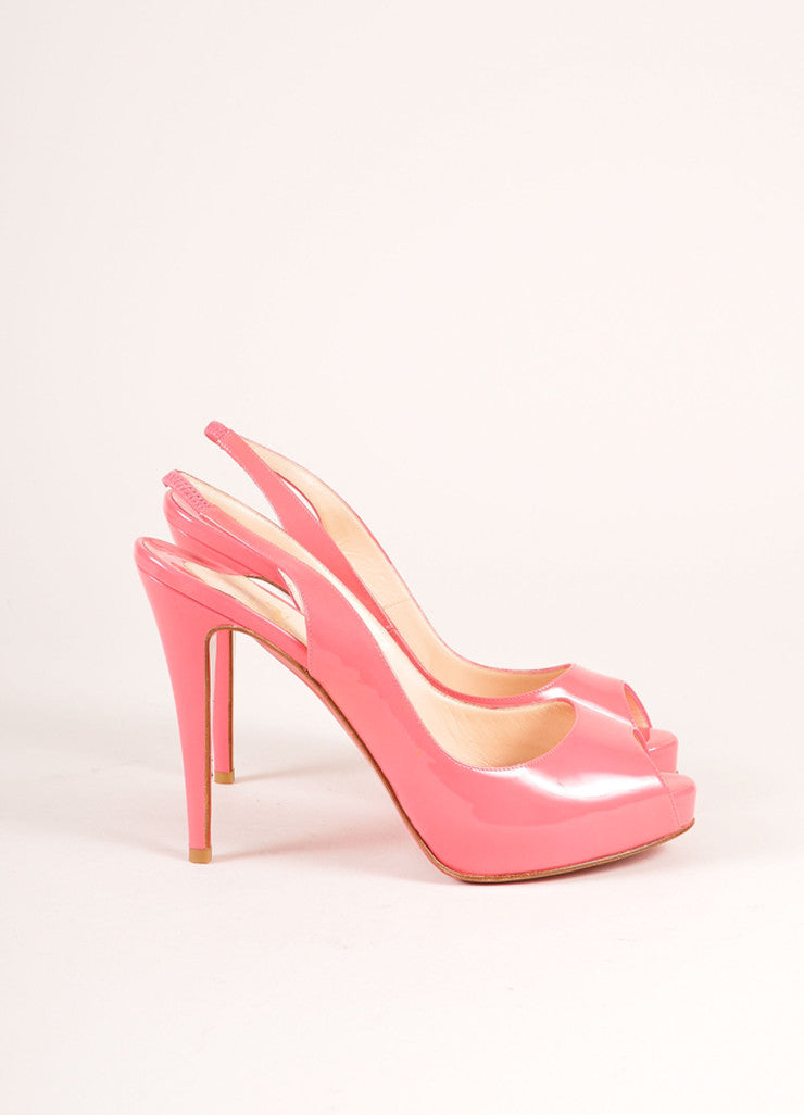 "Christian Louboutin Pink Patent Leather ""So Private"" Peep Toe Slingbacks Sideview"
