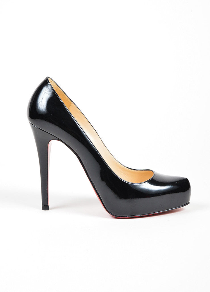 Black Christian Louboutin Rolando 120 Patent Leather Platform Pumps Sideview