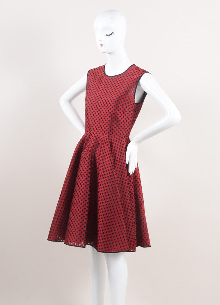 Giambattista Valli New With Tags Red and Black Eyelet Mesh Pleated Skater Dress Sideview