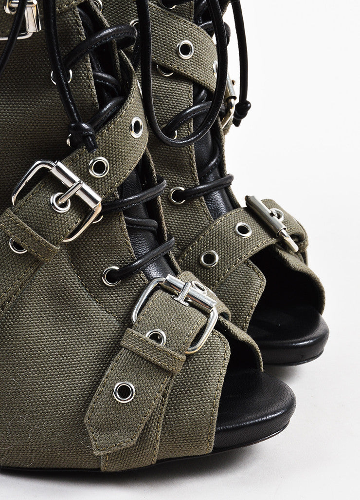 Giuseppe Zanotti Green and Black Canvas and Leather Buckled Peep Toe Booties Detail