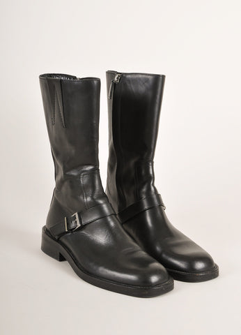 Gucci Black Leather Buckle Square Toe Moto Boots Frontview