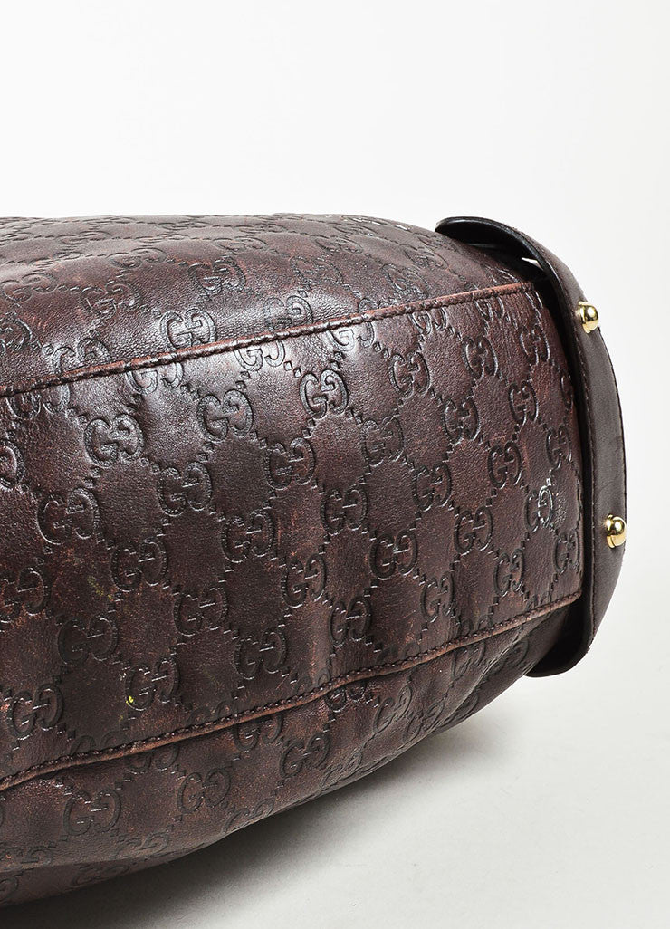 "Gucci Brown 'GG' Embossed Guccissima Leather Braided Handle ""Pelham"" Tote Bag Bottom View"