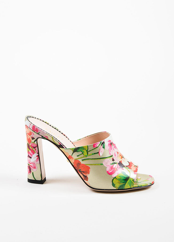 "Multicolor Guccci Leather Floral ""Soft St. Blooms"" Mule Sandals Side"