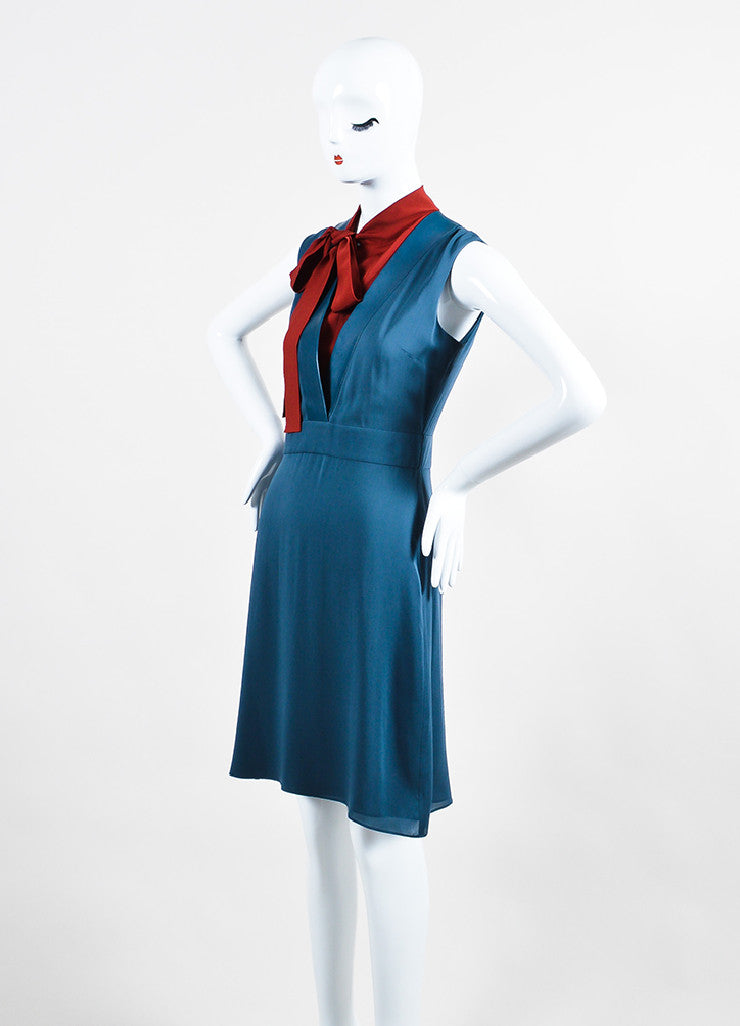 Navy and Red Gucci Silk Leather Trim Neck Tie Sleeveless Dress Sideview