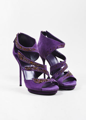 "Gucci Purple and Brown Suede Rhinestone Embellished ""Rachel"" Sandal Heels Frontview"