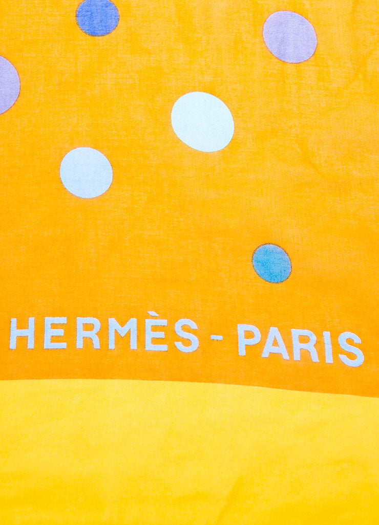 Orange and Blue Hermes Cotton Circle Print Beach Pareo Detail 2