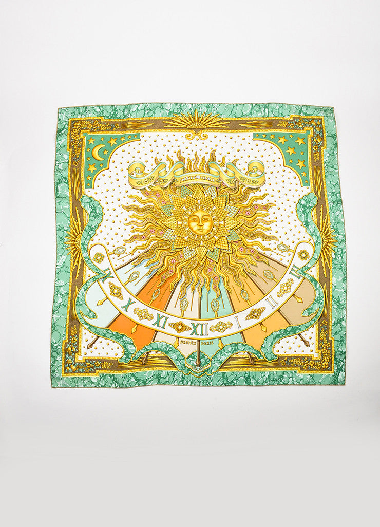 "Hermes Green and Gold Cream Silk ""Carpe Diem"" Sun Print 90cm Square Scarf Frontview 2"