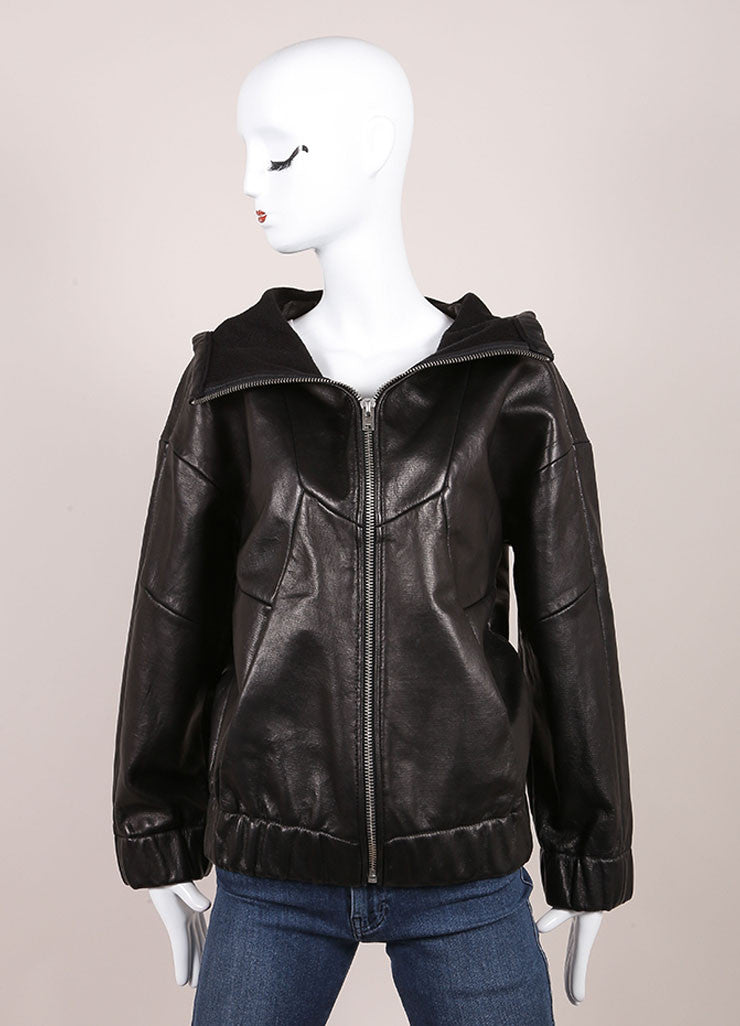 "Iro New With Tags ""Jeffrey"" Black Leather Hooded Bomber Jacket Frontview"
