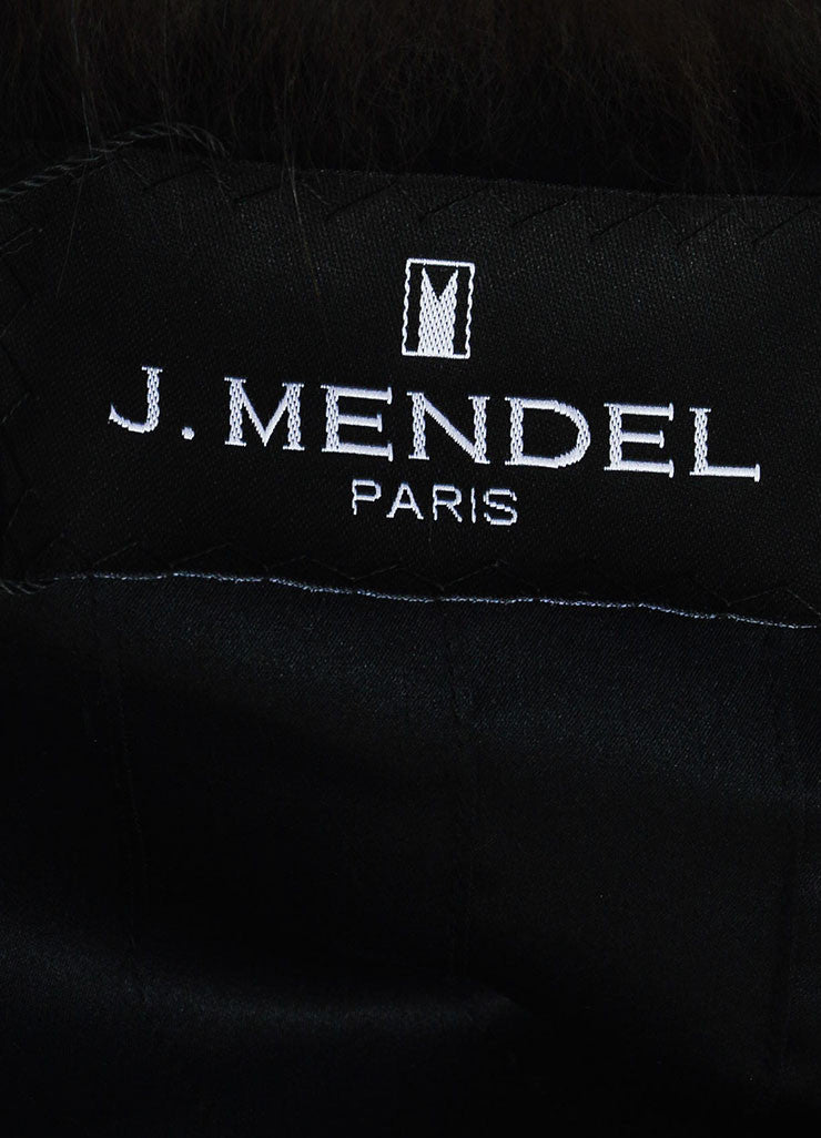 Black and Brown J. Mendel Leather and Fur Detachable Sleeve Cropped Jacket Vest Brand