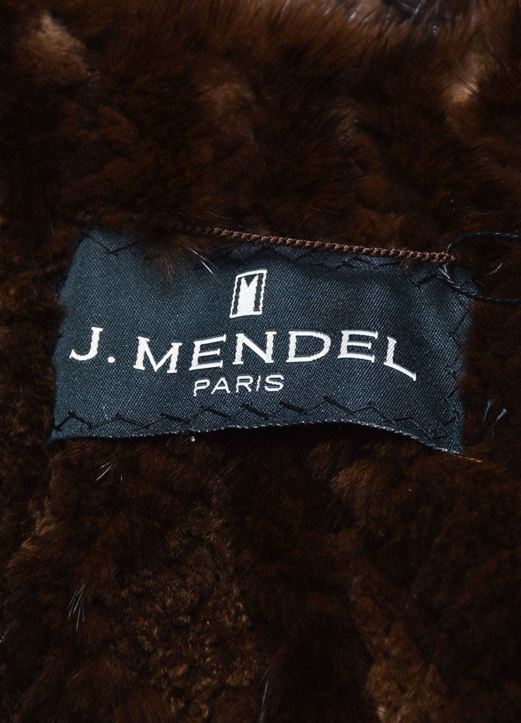 Dark Brown J. Mendel Fur Quilted and Cabled Shawl Lapel Belted Coat Brand