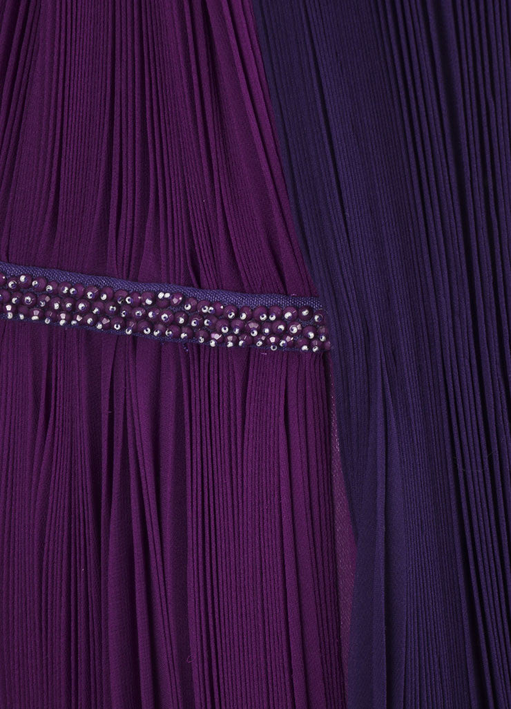 J. Mendel New With Tags Purple Silk Beaded Sleeveless Pleated Gown Detail