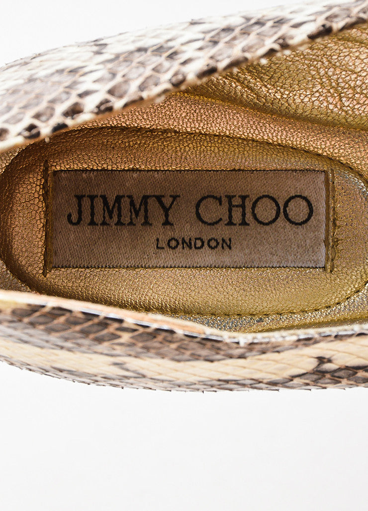 "Jimmy Choo Cream and Purple Snakeskin Cap Toe ""Whirl"" Ballet Flats Brand"