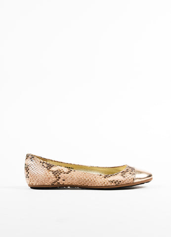 "Jimmy Choo Cream and Brown Snake Embossed Cap Toe ""Whirl"" Flats Sideview"