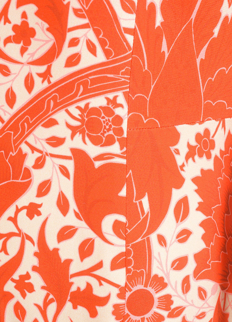 Jonathan Saunders New With Tags Red and Beige Silk and Wool Floral Print A-Line Dress Detail