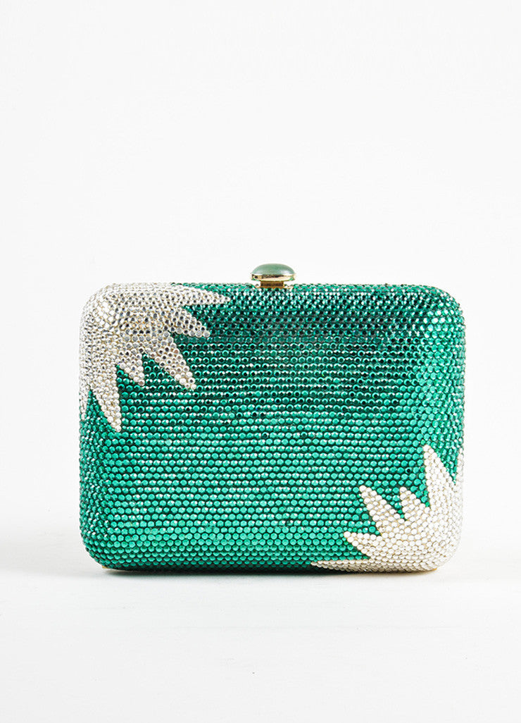 Judith Leiber Green and Clear Rhinestone Crystal Chain Strap Small Minaudiere Clutch Bag Frontview