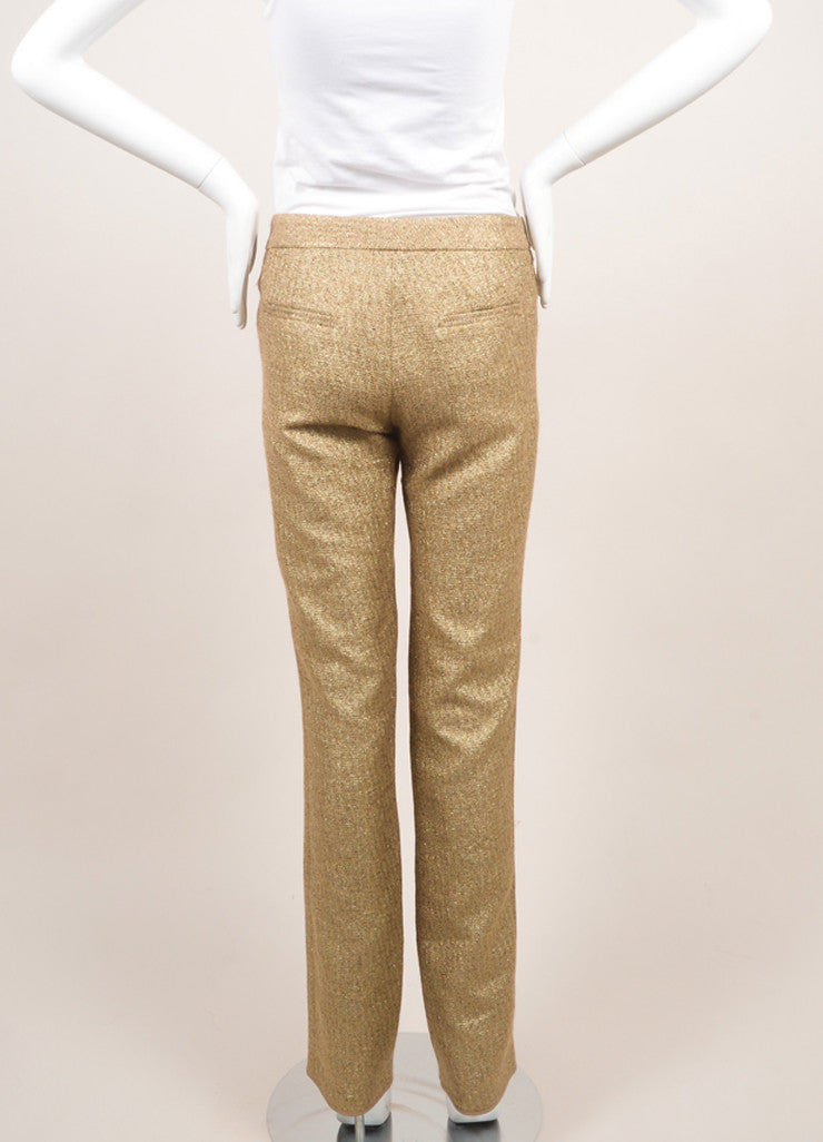 Lela Rose New Metallic Gold Cotton Blend Woven Slim Trousers Backview