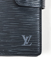 "Black Louis Vuitton Textured Leather ""Epi"" Small Ring Snap Agenda Detail"