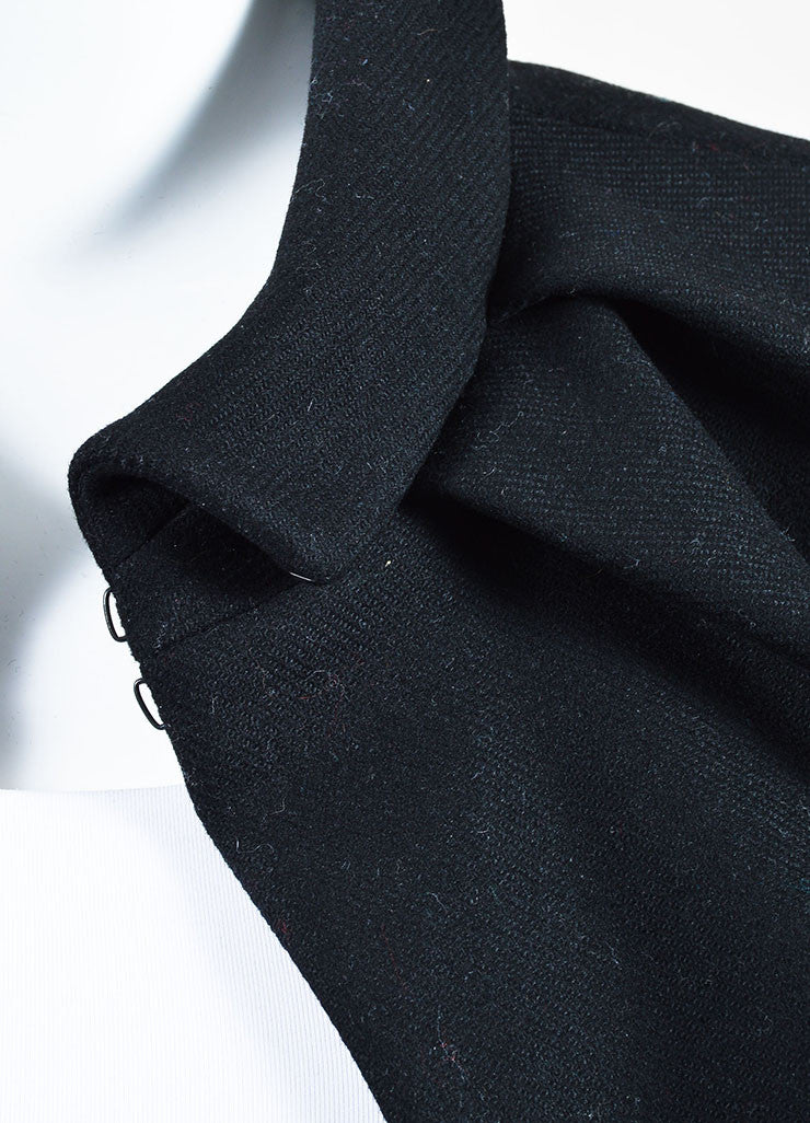 Black Louis Vuitton Wool Pleated Mini Cape Detail