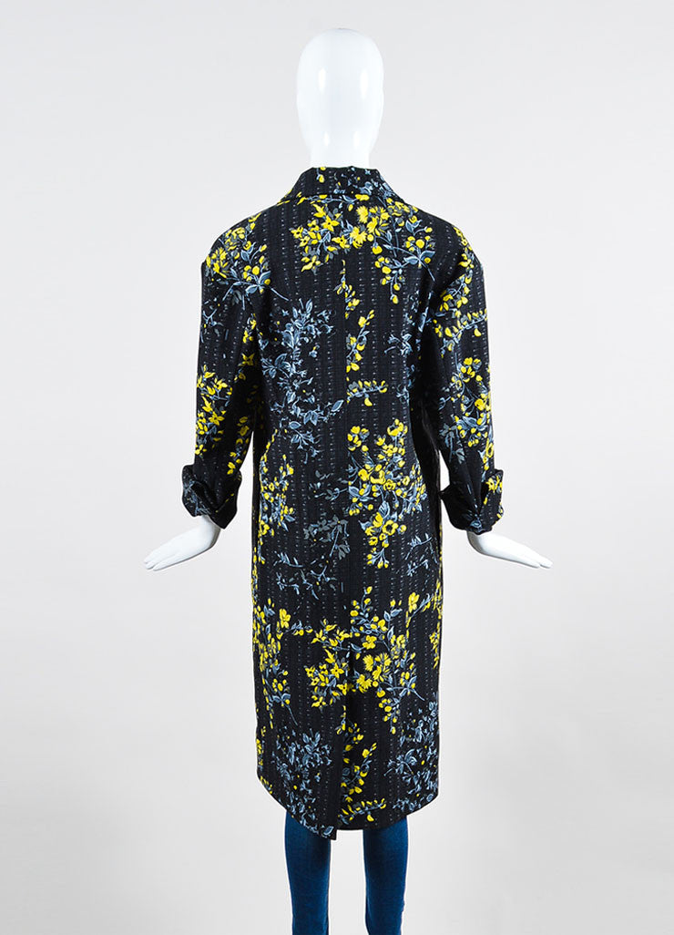 Black, Yellow, and Grey Marni Wool and Silk Blend Floral Print Long Jacket Backview