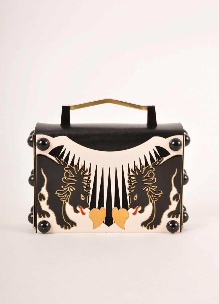 "Nuit Nº12 Black, Cream, and Gold Toned Leather Enamel ""Holy Lions"" Top Handle Clutch Bag Frontview"