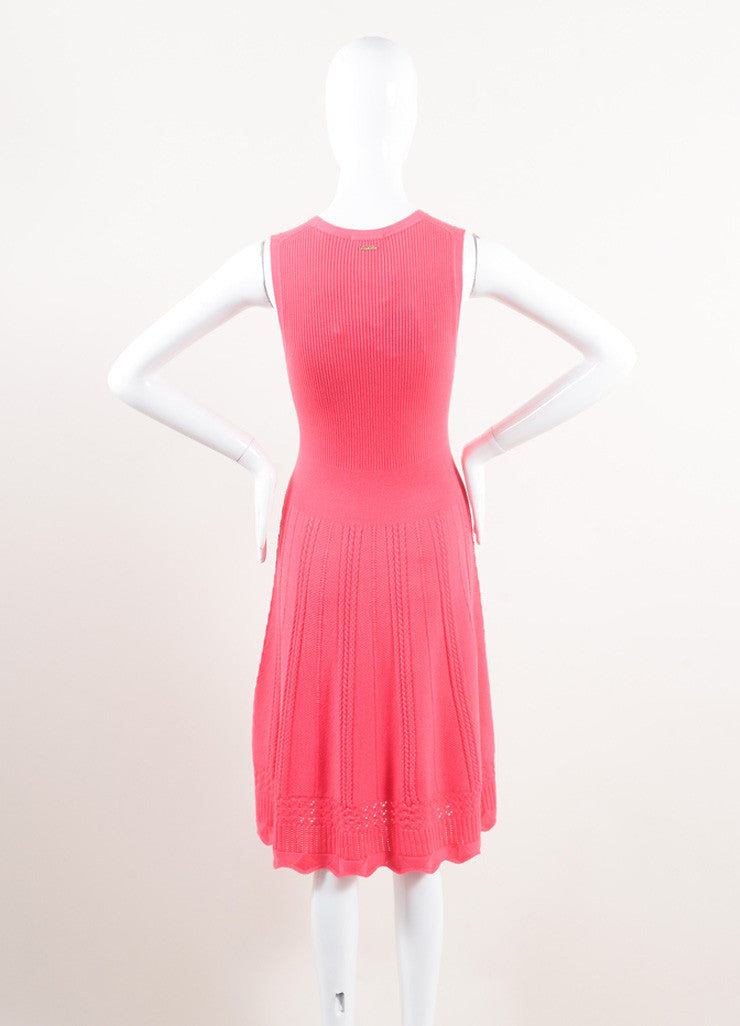 Oscar de la Renta New With Tags Pink Wool Woven Braided Knit Skater Dress Backview
