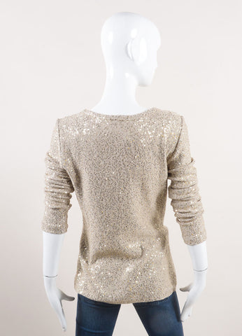 Oscar de la Renta New With Tags Beige and Gold Sequin Embellished Long Sleeve Knit Sweater  Backview