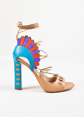 "Paula Cademartori Nude and Multicolor ""Cappuccino"" Leather ""Lotus"" Sandals Sideview"