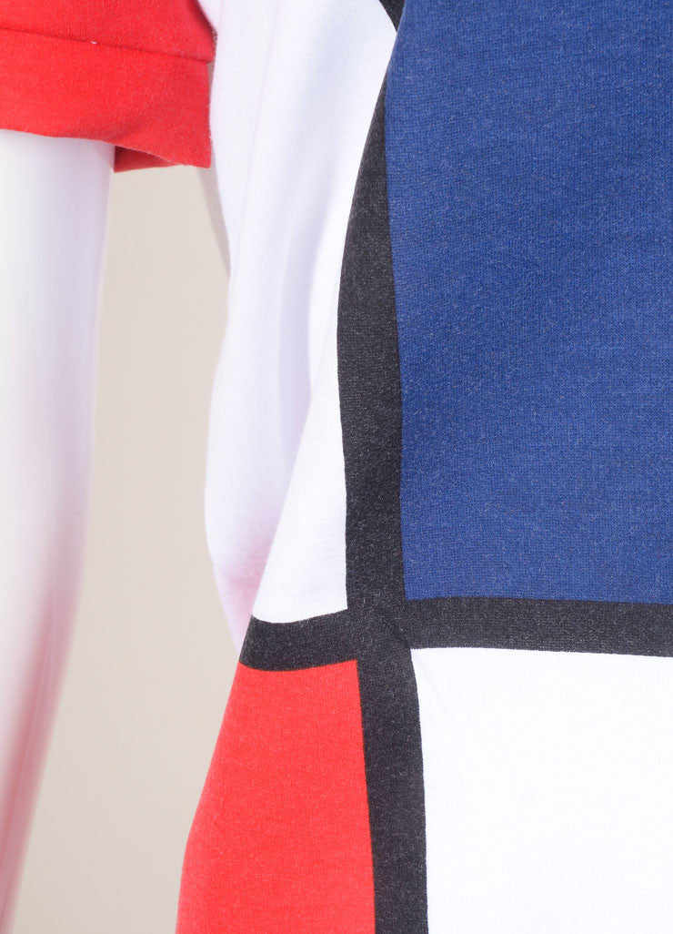 "Pret a Surf New With Tags White, Navy, and Red ""Mondrian"" Print Short Sleeve Cotton Sweatshirt Detail"