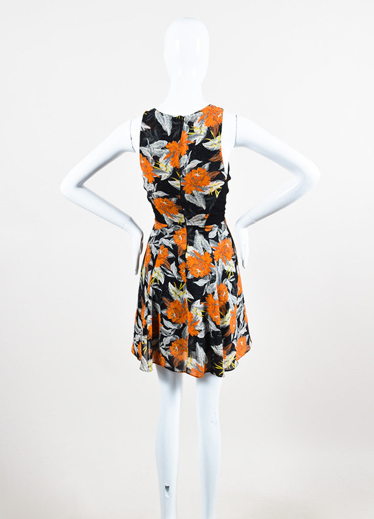 Black, Orange, and Grey Proenza Schouler Silk Sleeveless Hibiscus Flippy Dress Backview