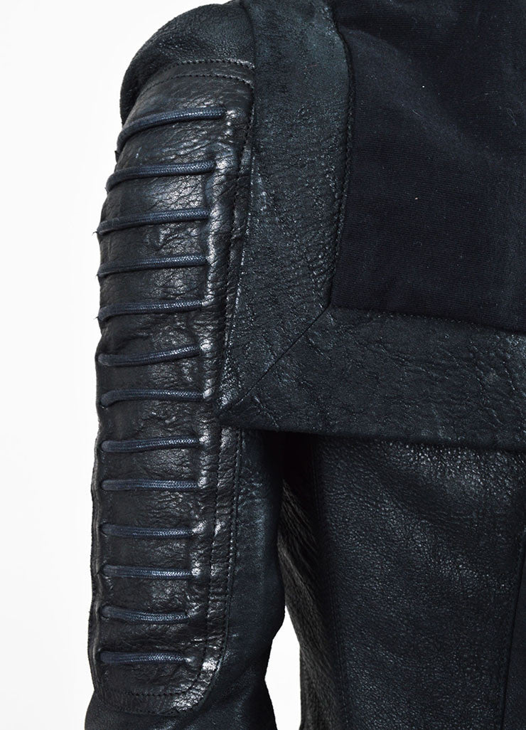 Rick Owens Black Coated Leather and Wool Laced Sleeve Asymmetrical Jacket Detail 2