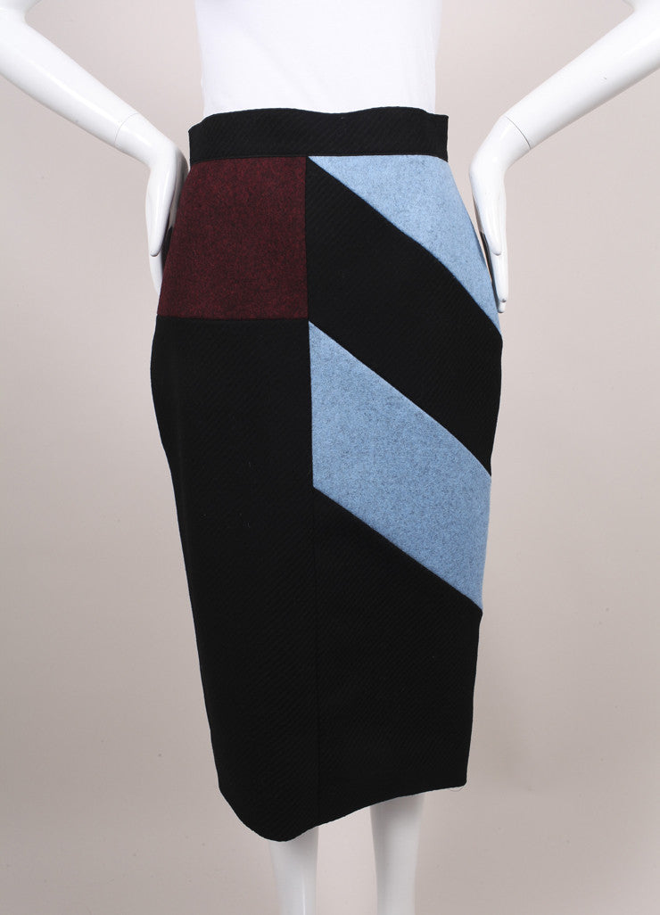 "Roksanda Ilincic New Black, Blue, and Red Color Block Wool ""Alba"" Skirt Frontview"