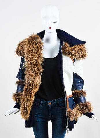 Navy, White, and Brown Sacai Knit Leather Lamb Fur Trim Coat Frontview