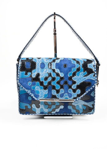 Blue and Black Salvatore Ferragamo Snakeskin and Suede Patchwork Top Flap Shoulder Bag Frontview