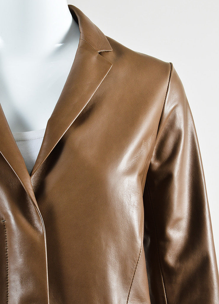 "The Row ""Mushroom"" Brown Lamb Leather ""Trackson"" Long Sleeve Coat Detail"