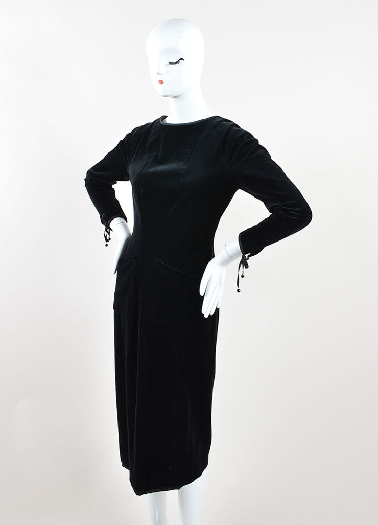 Chanel Black Velvet Ribbon Tie Long Sleeve Sheath Dress Sideview