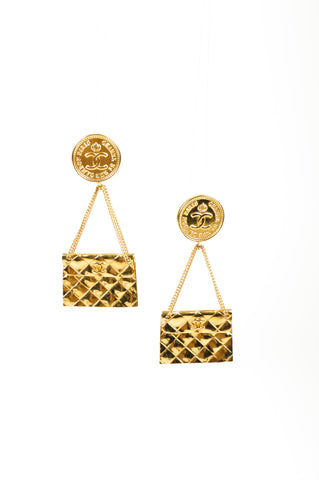 "Gold Toned Chanel ""CC"" Logo Flap Bag Clip On Earrings Front"