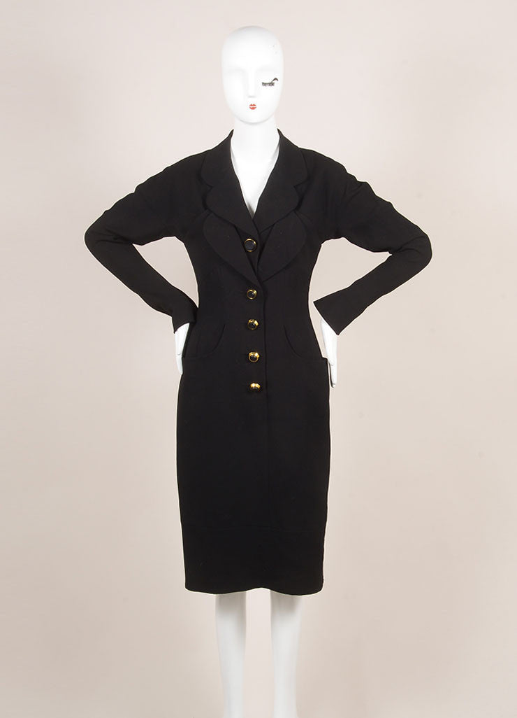 Vintage Karl Lagerfeld Black Wool Paneled Button Up Long Sleeve Dress Frontview