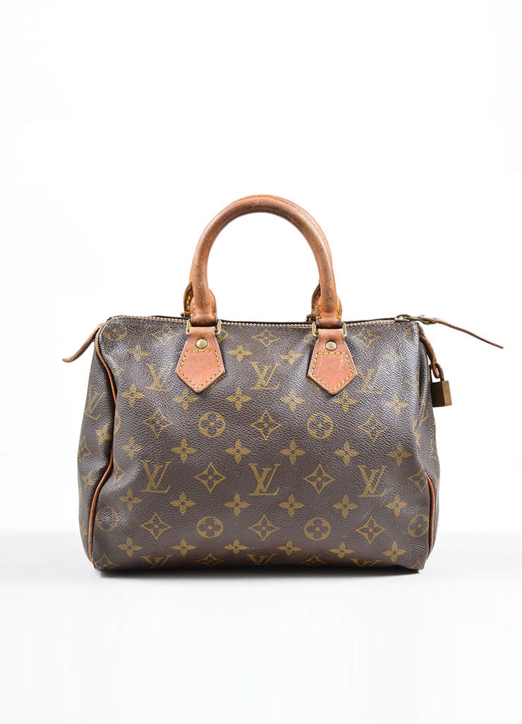 "Louis Vuitton Brown Coated Canvas and Leather Monogram ""Speedy 25"" Satchel Bag Frontview"