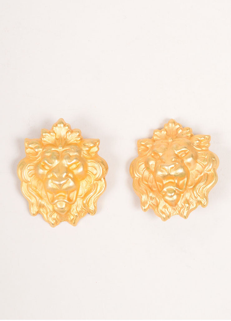 Misia Gold Toned Lion Earrings Frontview