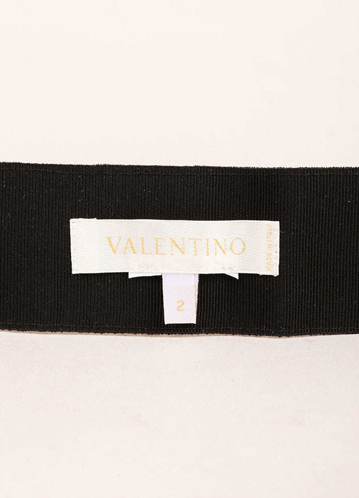 Valentino Black Crystal Buckle Ribbon Bow Belt Brand