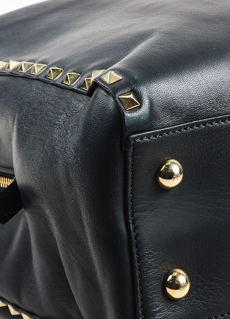 "Valentino Garavani Black Leather ""Rockstud"" Top Handle Shopper Tote Bag Detail"