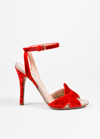 Scarlet Red Valentino Garavani Crushed Velvet Ankle Wrap High Heel Sandals Sideview