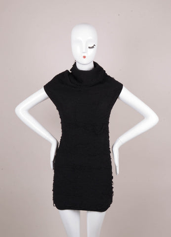 Black Textured Wool Sleeveless Turtleneck Tunic Sweater