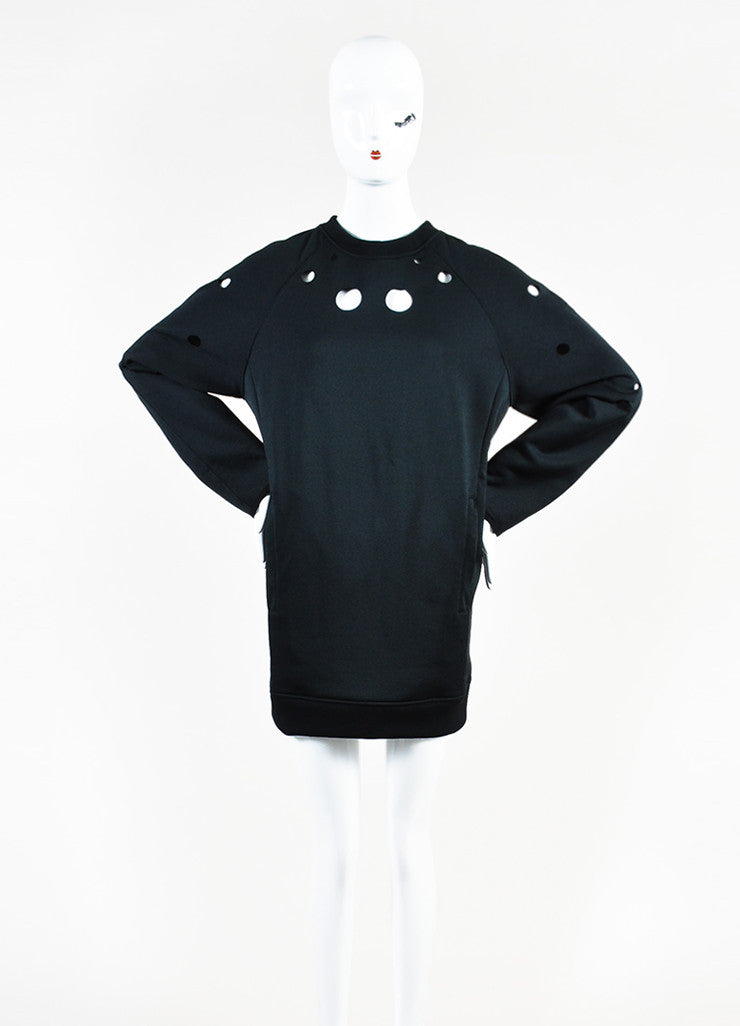"Acne Studios Black Cotton Knit Cut Out ""Fiera"" Long Sleeve Sweater Dress Frontview"